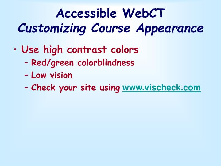 Accessible WebCT