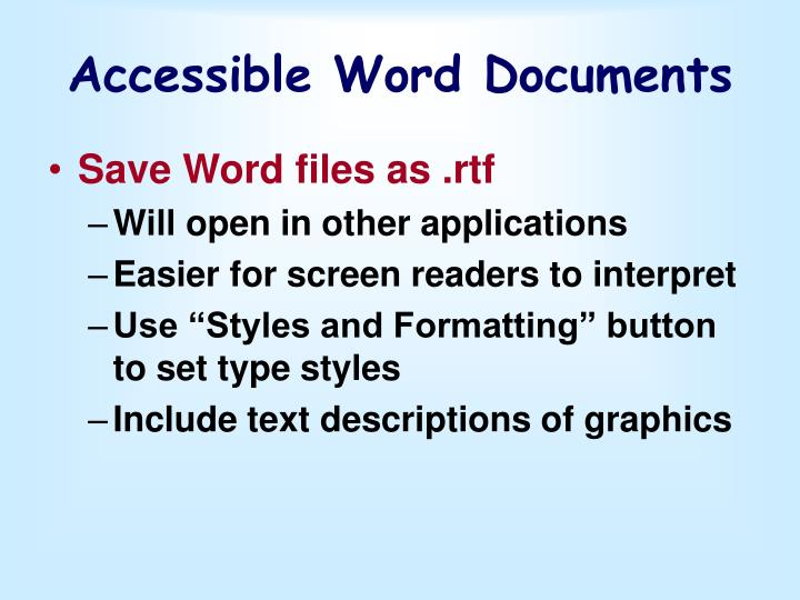 Accessible Word Documents