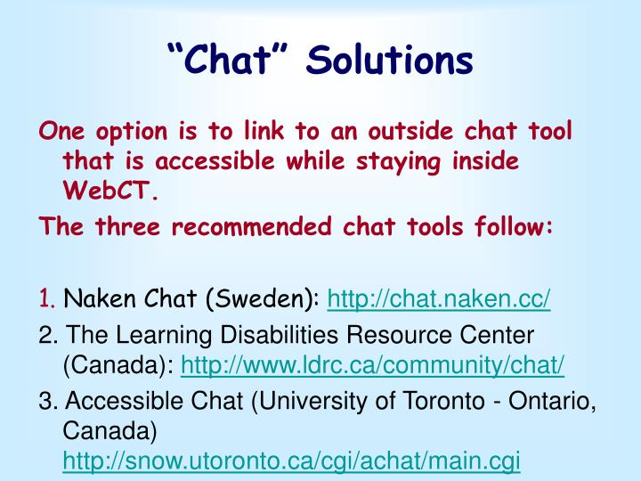 """Chat"" Solutions"