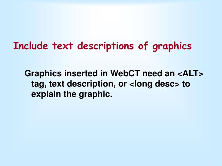 Include text descriptions of graphics