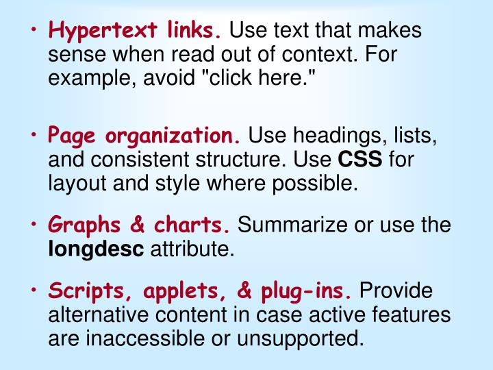 Hypertext links.