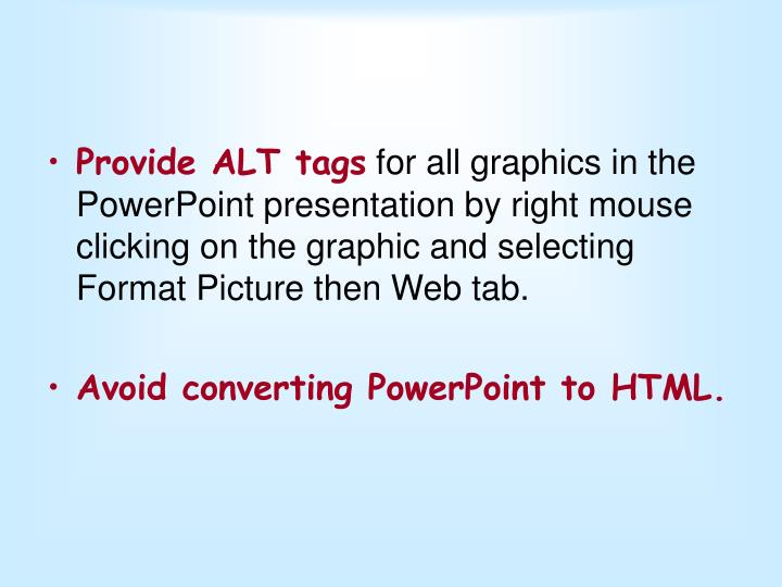 Provide ALT tags