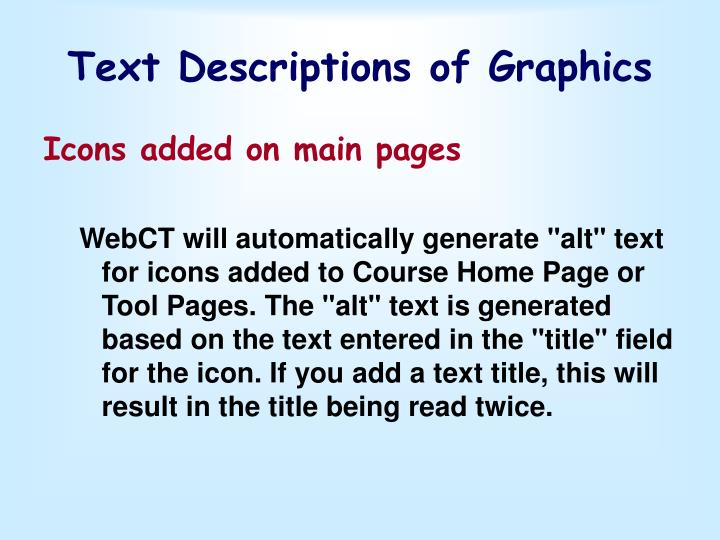Text Descriptions of Graphics