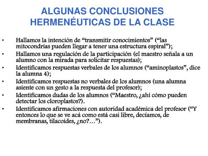 ALGUNAS CONCLUSIONES HERMENÉUTICAS DE LA CLASE
