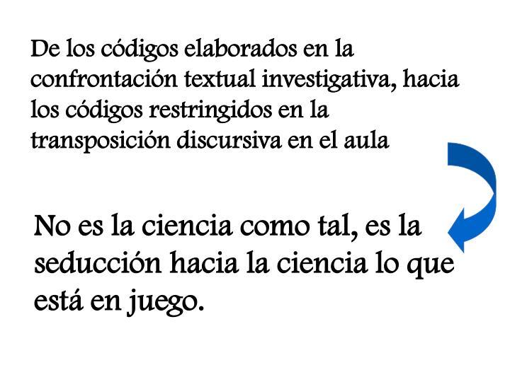 De los códigos elaborados en la confrontación textual investigativa, hacia los códigos restringidos en la transposición discursiva en el aula