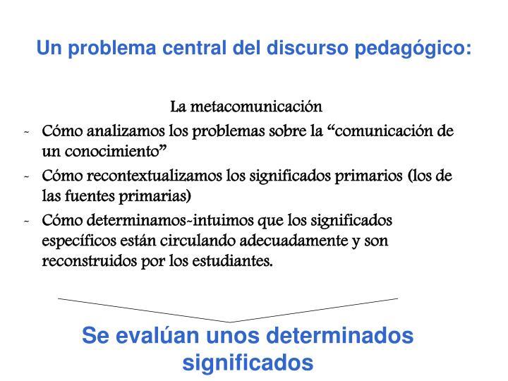 Un problema central del discurso pedagógico: