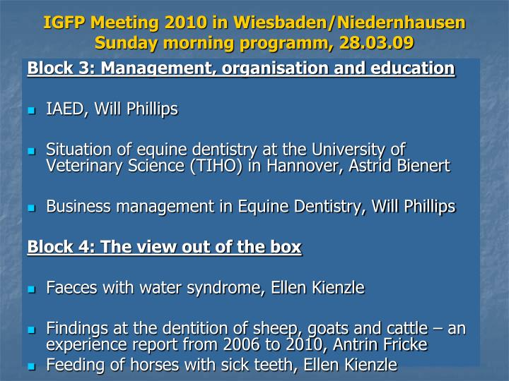 IGFP Meeting 2010 in Wiesbaden/Niedernhausen