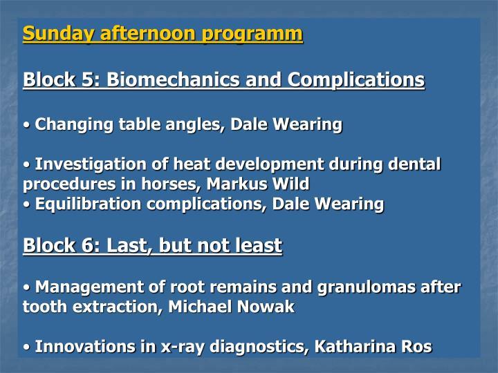 Sunday afternoon programm