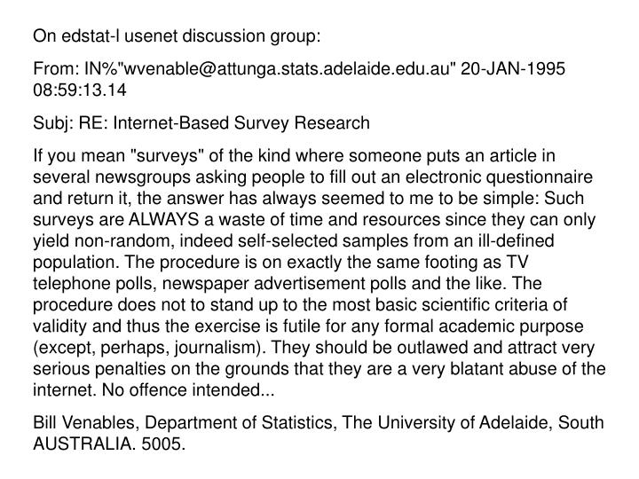 On edstat-l usenet discussion group: