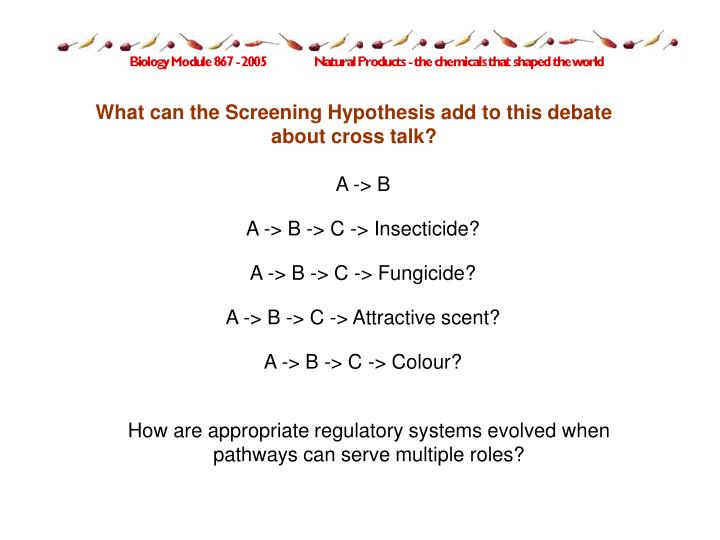 What can the Screening Hypothesis add to this debate about cross talk?