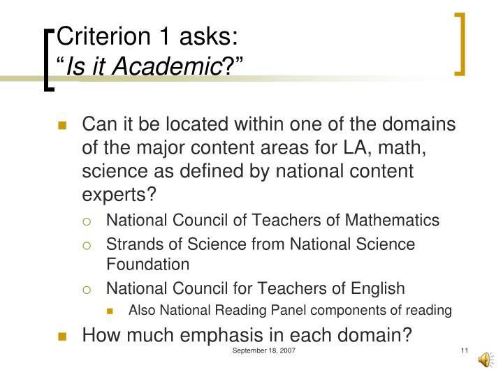 Criterion 1 asks: