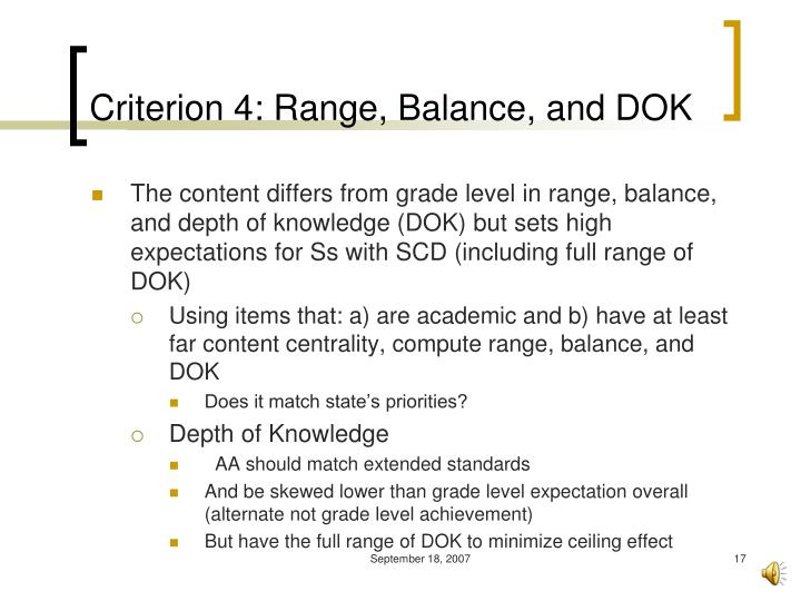 Criterion 4: Range, Balance, and DOK