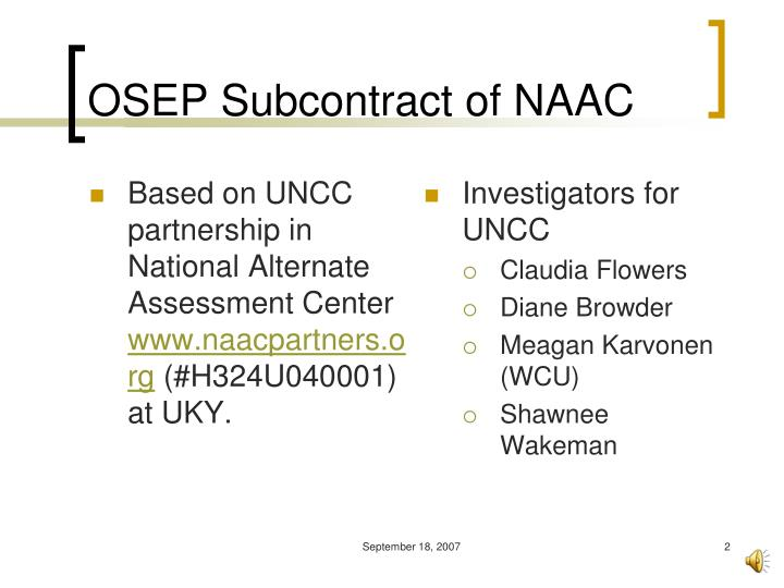 Osep subcontract of naac