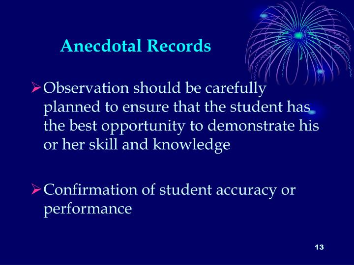 Anecdotal Records