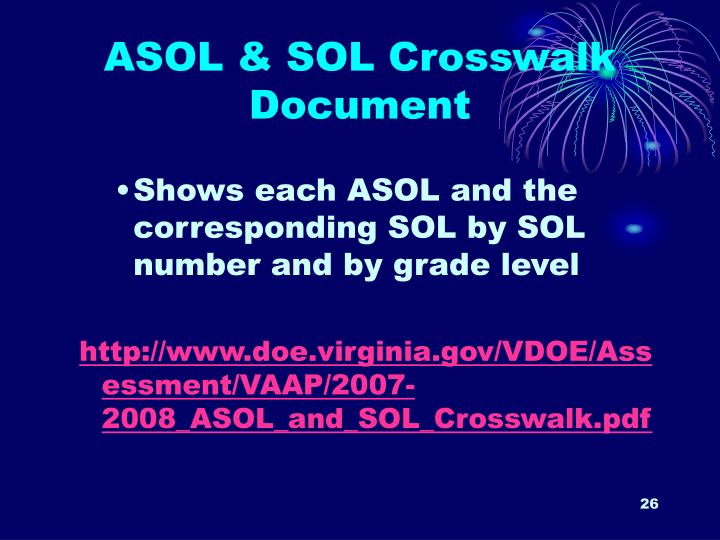 ASOL & SOL Crosswalk Document