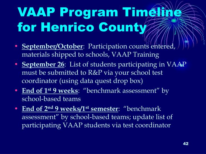 VAAP Program Timeline for Henrico County