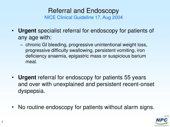 Referral and Endoscopy