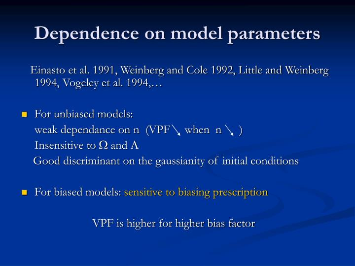 Dependence on model parameters