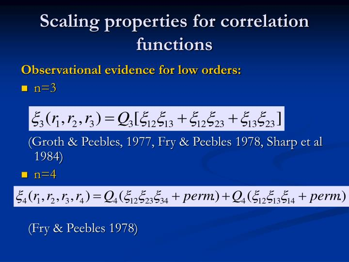 Scaling properties for correlation functions