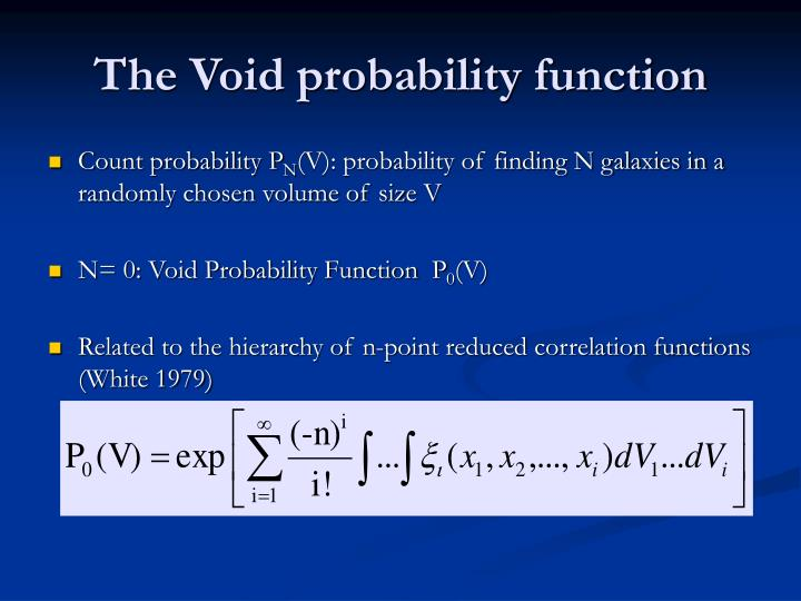 The void probability function