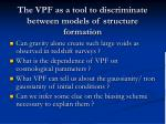 the vpf as a tool to discriminate between models of structure formation