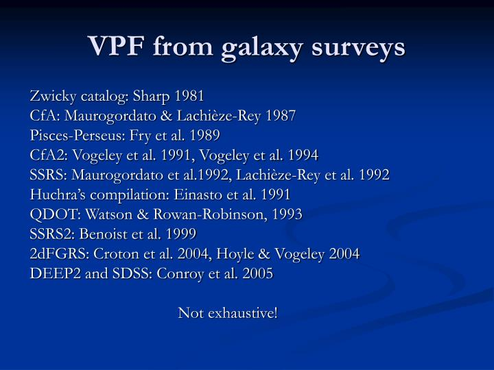 VPF from galaxy surveys