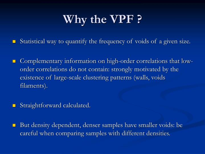 Why the vpf