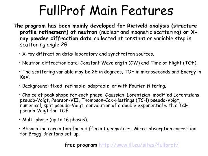 FullProf Main Features