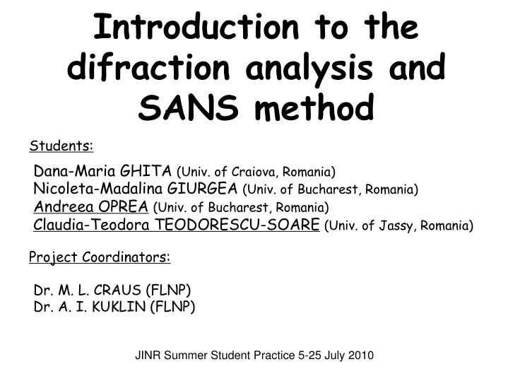 introduction to the difraction analysis and sans method