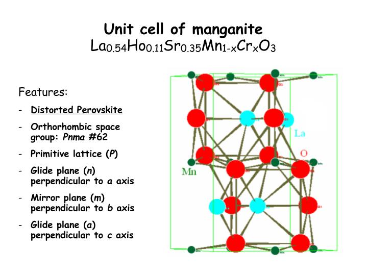 Unit cell of manganite