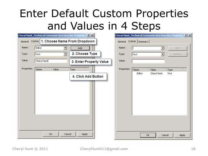 Enter Default Custom Properties