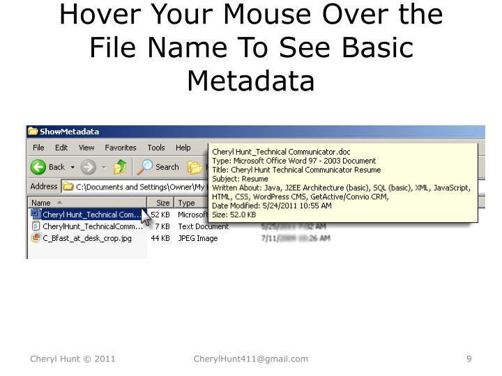 Hover Your Mouse Over the File Name To See Basic Metadata