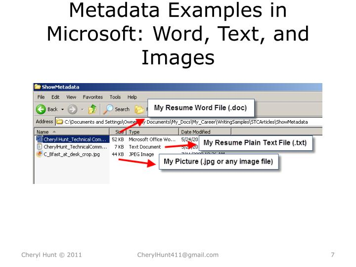 Metadata Examples in Microsoft: Word, Text, and Images