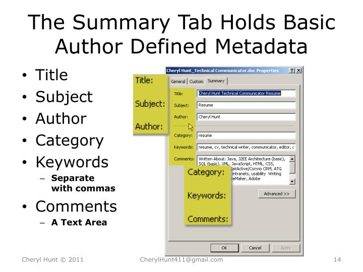 The Summary Tab Holds Basic Author Defined Metadata
