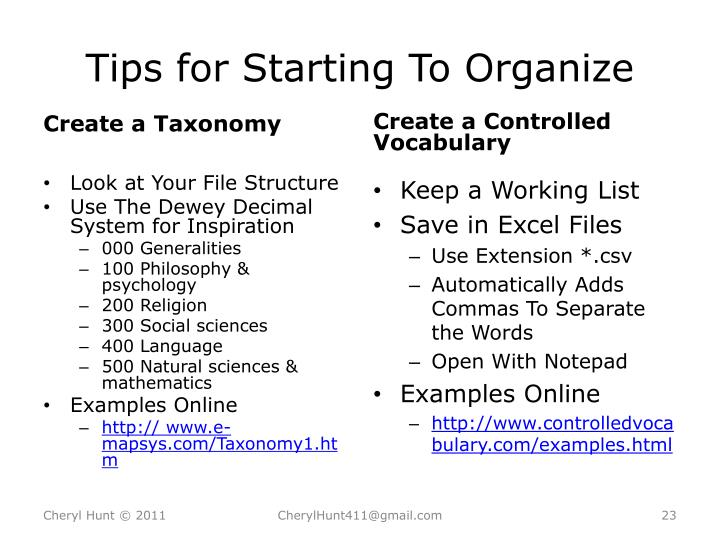 Tips for Starting To Organize