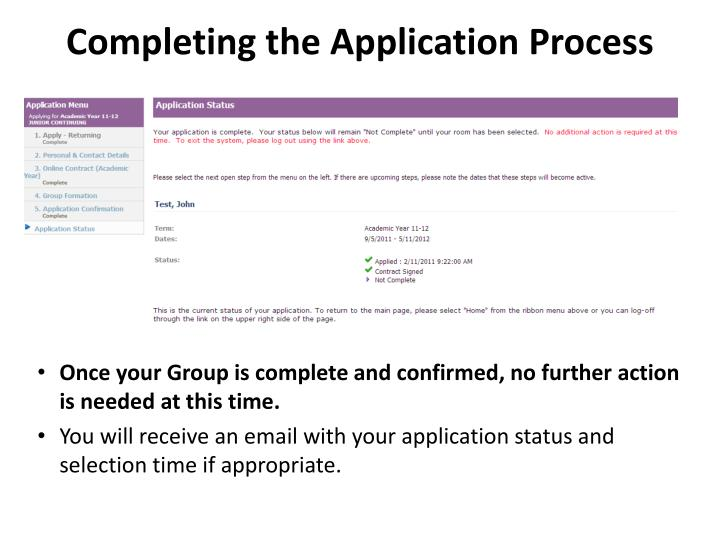 Completing the Application Process