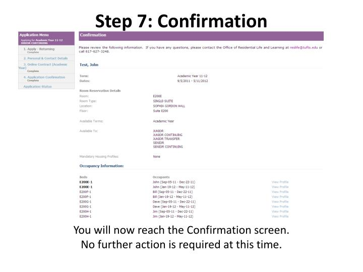 Step 7: Confirmation