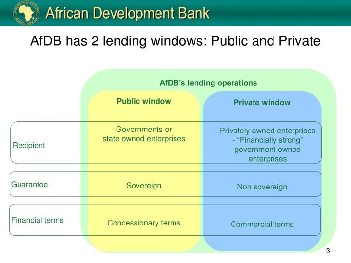 Afdb has 2 lending windows public and private