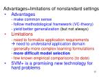 advantages limitations of nonstandard settings