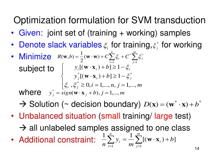 Optimization formulation for SVM transduction
