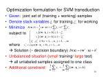 optimization formulation for svm transduction