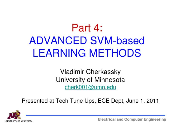 Part 4 advanced svm based learning methods