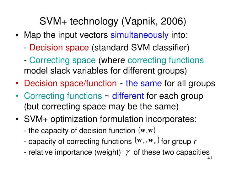 SVM+ technology (Vapnik, 2006)