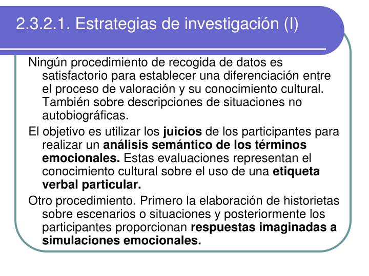 2.3.2.1. Estrategias de investigación (I)