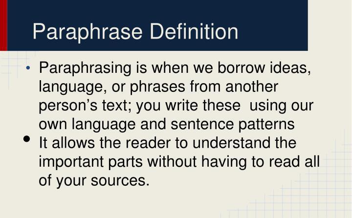 Paraphrase Definition