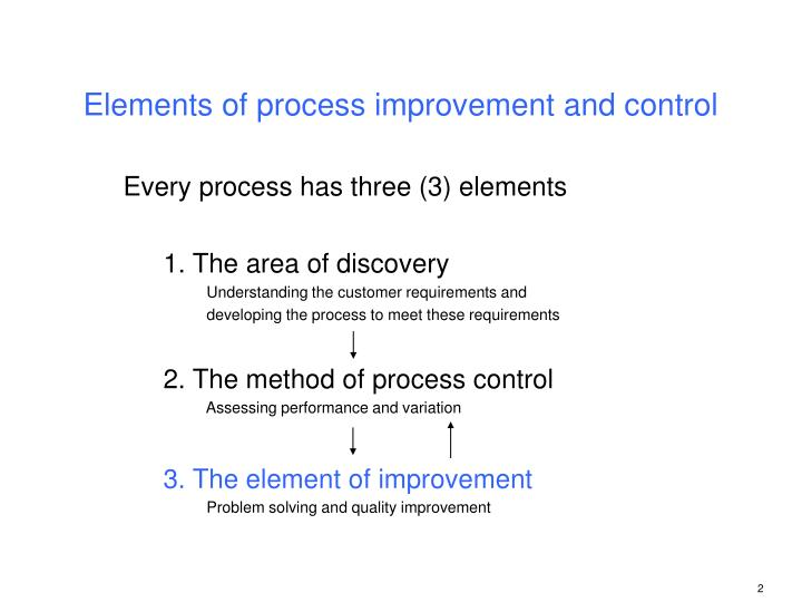 Elements of process improvement and control