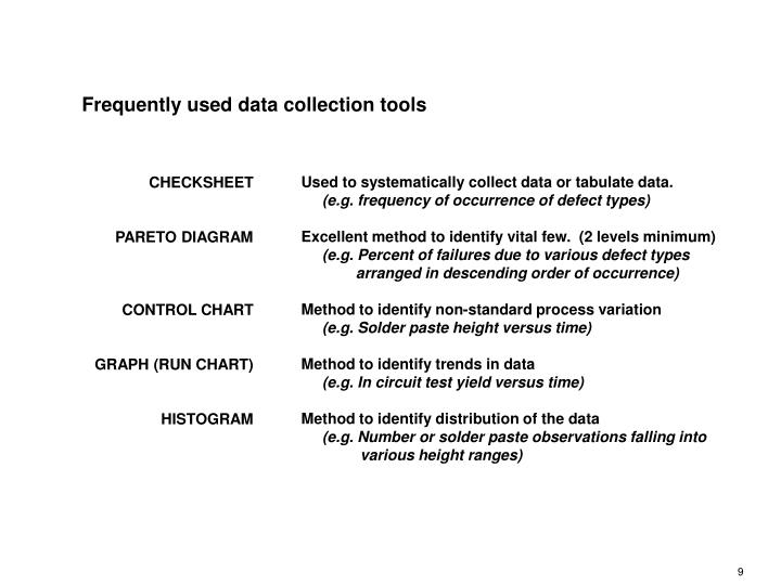Frequently used data collection tools
