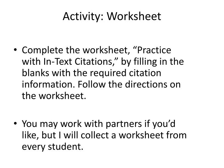 Activity: Worksheet