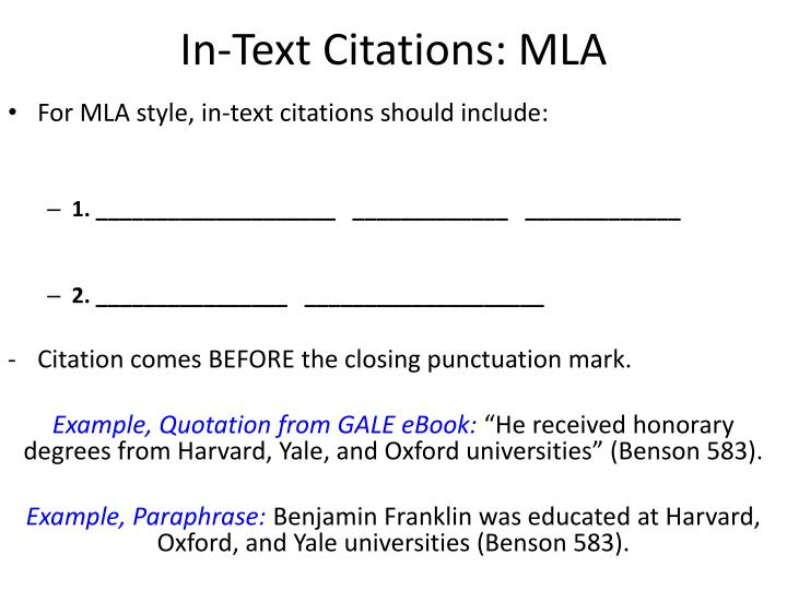 In-Text Citations: MLA