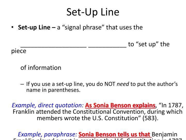 Set-Up Line